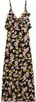 Marni Ruffled Floral-print Silk-satin Maxi Dress - Black