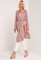 Missguided Satin Back Crepe Duster Coat Pink