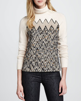 Tory Burch Ilsa Zigzag Shearling Sweater
