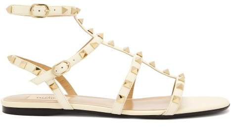 Valentino Rockstud Flat Leather Sandals - Womens - White