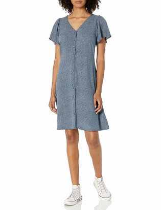 Goodthreads Fluid Twill Button-Front Fit-and-Flare Dress
