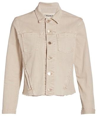 L'Agence Janelle Slim Fit Raw Hem Denim Jacket