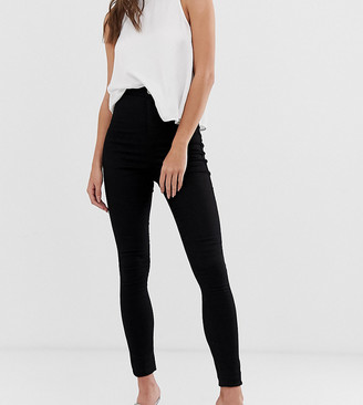 Asos Tall DESIGN Tall Rivington high waisted denim jeggings in clean black