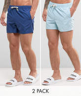 Asos Swim Shorts In Blue In Short Length 2 Pack SAVE