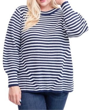 Fever Plus Size Striped Blouson-Sleeve Sweater