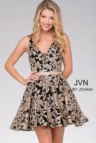 Jovani Sleeveless Deep V Neck Floral Sequined Short Party Dress JVN47506