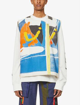Bethany Williams Abstract-print zipped denim vest