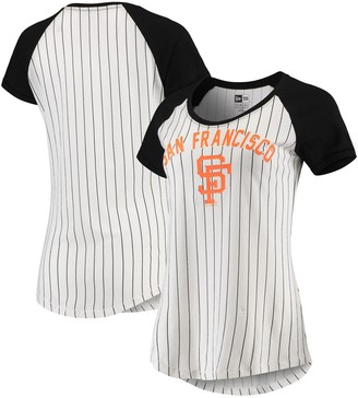 New Era San Francisco Giants Women's Cooperstown Pinstripe Raglan T-Shirt - White/Black