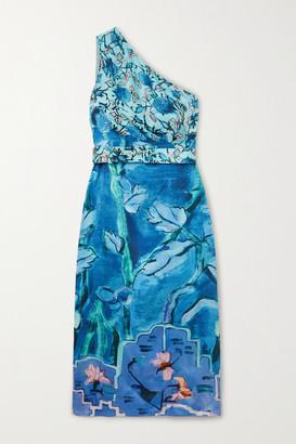 Peter Pilotto One-shoulder Belted Printed Silk-satin Midi Dress - Blue
