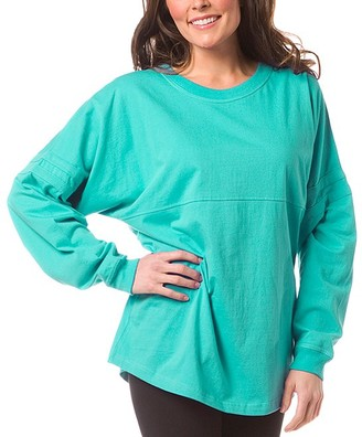 Boxercraft Women's Sleep Tops Teal - Teal Pom-Pom Jersey Oversize Lounge Top - Women