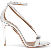 Aquazzura Casanova Metallic Leather Sandals - Silver