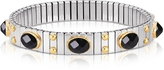 Nomination Small Black Cubic Zirconia Stainless Steel w/Golden Studs Women's Bracelet