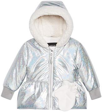 S. Rothschild Baby Girls Hologram-Print Hooded Jacket & Mittens