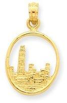 PriceRock 14k Gold Chicago Skyline in Circle Frame Pendant