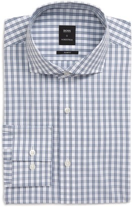 BOSS Extra Slim Fit Stretch Plaid Dress Shirt