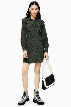 Topshop Womens Spot Floral Yoke Mini Dress - Monochrome