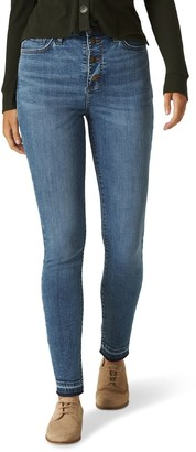 Lee Womens Button-Fly Skinny Jeans