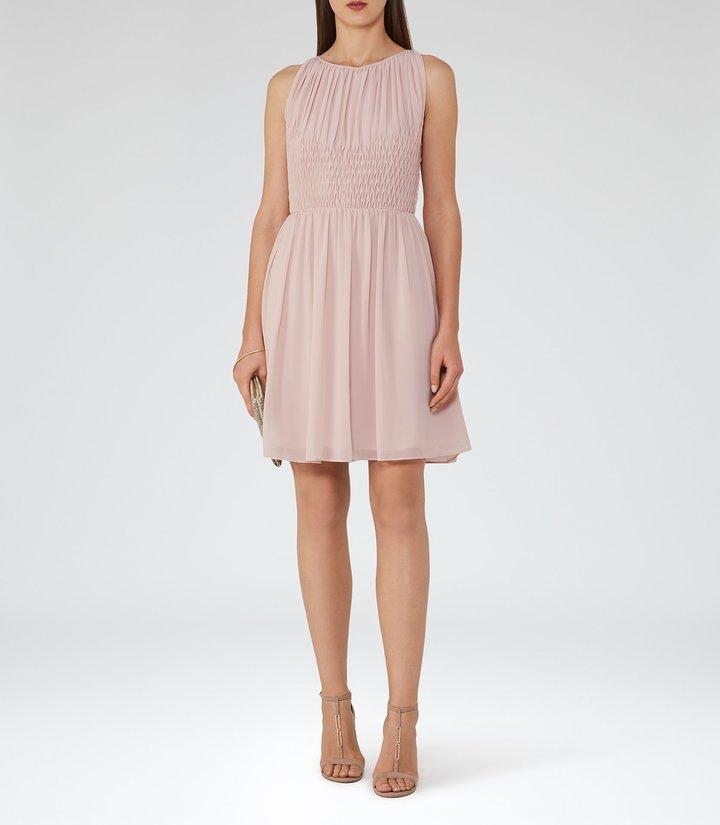 Reiss Charlotte - Smocking-detail Dress in Pink, Womens
