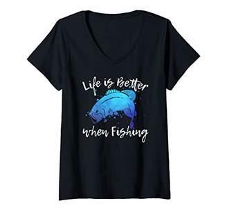 Womens LIFE IS BETTER WHEN FISHING Bass Freshwater Women Mom Girls V-Neck T-Shirt