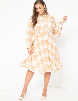 ELOQUII Sunburst Pleated Printed Dress