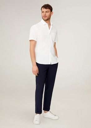 MANGO MAN - Regular fit pocket cotton shirt white - S - Men