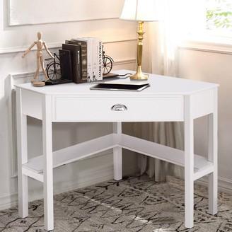 Overstock Corner Wooden PC Laptop Computer Desk-White