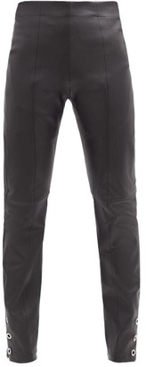 Ludovic de Saint Sernin High-rise Eyelet Zip-cuff Leather Trousers - Black