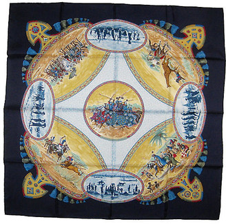 One Kings Lane Vintage Hermes Cavaliers Peuls Scarf - The Emporium Ltd. - navy blue/white/multi-color