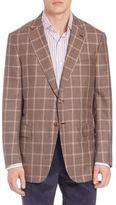 Isaia Windowpane Wool & Silk Sportcoat