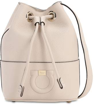 Salvatore Ferragamo SMALL GRAINED LEATHER BUCKET BAG