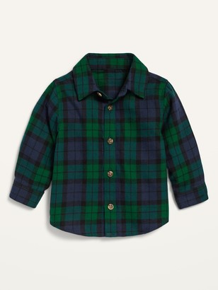 Old Navy Unisex Long-Sleeve Button-Front Plaid Shirt for Baby