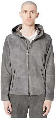 John Varvatos Collection Sheep Skin Unlined Hooded Leather Jacket L1288W1 (Metal Grey) Men's Coat