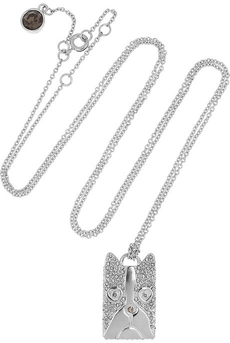 Marc by Marc Jacobs Shorty Dog crystal-embellished silver-tone necklace