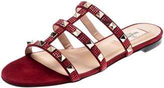 Valentino Scarlet/Rubino Suede Rockstud Flat Slides Size 37