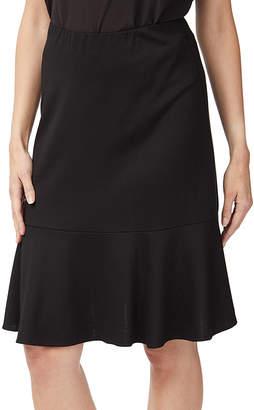 Minna Women's Career Skirts Black - Black Ruffle-Hem A-Line Skirt - Women & Plus