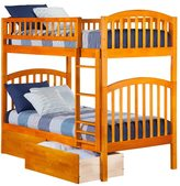 Atlantic Richland Bunk Bed Twin over Twin with Urban Bed Drawers in Caramel Latte