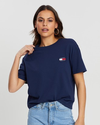 Tommy Jeans Women's Blue Basic T-Shirts - Tommy Badge Tee - Size XS at The Iconic