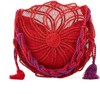 Nannacay - Cotio Sila Round Straw Beach Tote Bag