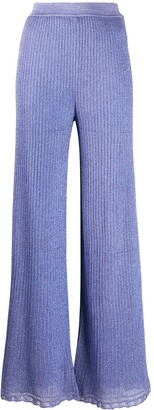 M Missoni Flared Ribbed Knit Trousers