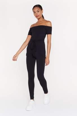 Nasty Gal Womens Off-The-Shoulder Comment Belted Jumpsuit - Black - S/M, Black