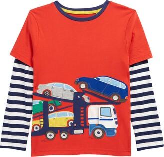 Boden Kids' Cherry Red Applique Layered Long Sleeve Shirt