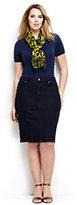 Classic Women's Plus Size Denim Skirt-Dark Indigo Wash