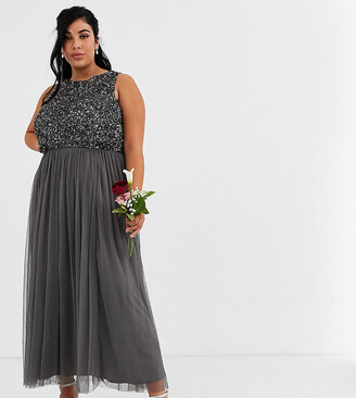 Maya Bridesmaid delicate sequin 2 in 1 midaxi dress in dark grey