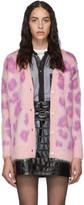 Miu Miu Pink Mohair Leopard Cardigan