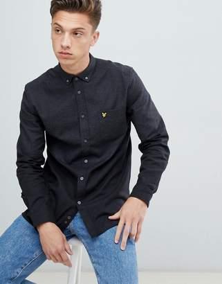 Lyle & Scott buttondown colour block marl shirt in dark grey