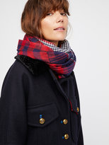 Free People Check Yourself Patchwork Plaid Scarf