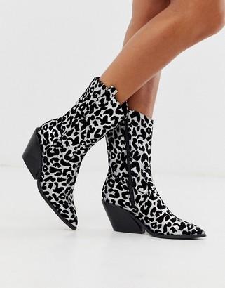 Asos Design DESIGN Rex western high ankle boots in silver glitter leopard