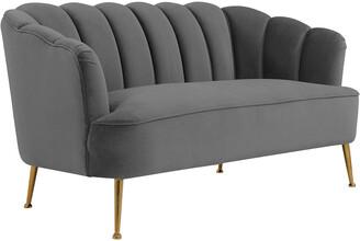 TOV Tov Furniture Daisy Petite Grey Velvet Settee