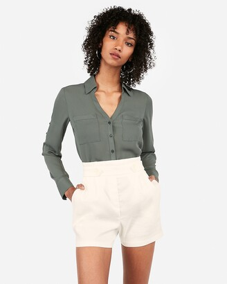 Express Super High Waisted Linen-Blend Button Front Shorts