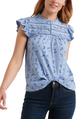 Lucky Brand Floral Print Ruffle Shell